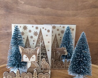 Woodlands christmas scene. Fox and bear christmas decoration