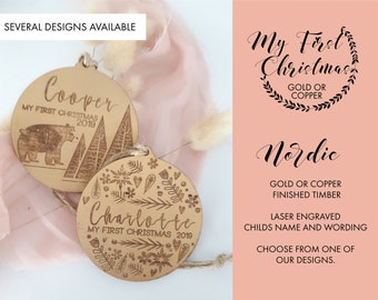Personalised Christmas decorations. GOLD Christmas baubles. My First Christmas
