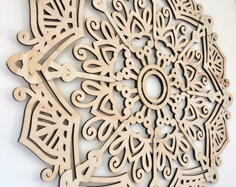 Mandala wall art. Laser cut wood mandala- 60cm