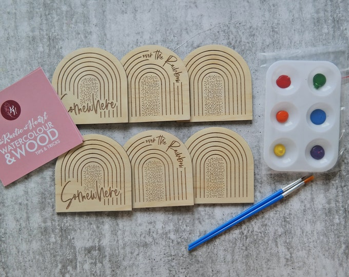 DIY Painting Kit - Paint your own Wooden Coaster Set - Somewhere over the rainbow