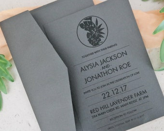 Tropical wedding stationery - Coastal Designs - Linen Paper - Pack of 10