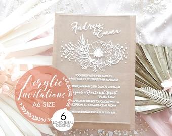 Bohemian Wedding invitations, laser engraved acrylic stationery. A6 size
