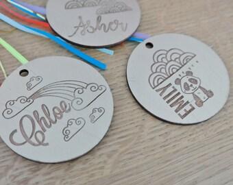 Bag Tags. Timber and coloured bag tags