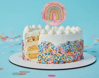 Rainbow Cake topper. Wood cake topper