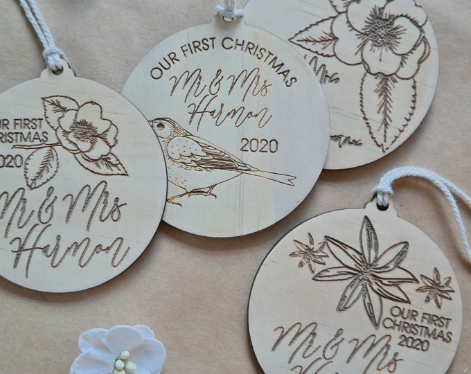 NEWLY WEDS BAUBLES - Ornaments - Birds and Blooms - Wood Bauble
