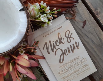 Beach Wedding invitation, Wood Invitation. 10pk