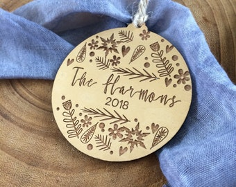 Gold Personalised Christmas decorations. Family gifts.