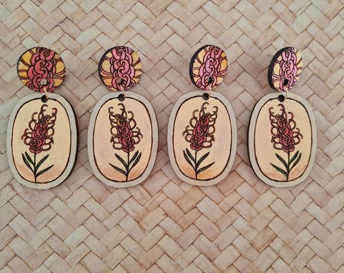 Wildflower Earrings - Australian flower earrings - Grevillea - Dangles