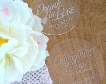 Wedding coasters. Acrylic customised coasters. Set of 10