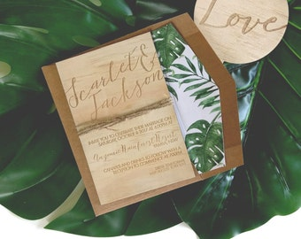 Wood wedding invitation. Tropical, beach, rustic wedding invitation. 10 pack