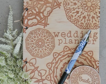 Wedding planner, wedding diary. Rustic timber planner with mandala design