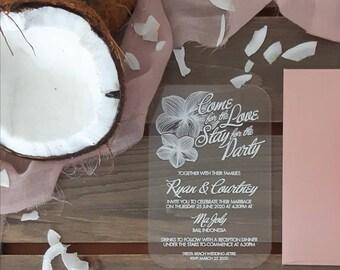 Frangipani Acrylic invitations, tropical wedding invitation.   Pack of 10.