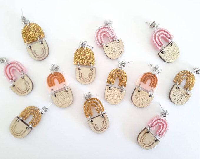 Rainbow earrings - acrylic earrings. After the Rain