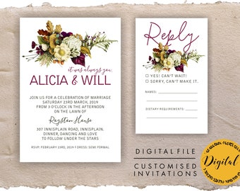 Autumn wedding invitations - DIY printing - Digital file.