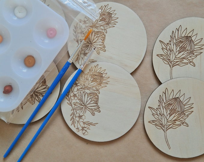 DIY Painting Kit - Paint your own Wooden Coaster Set - Proteas