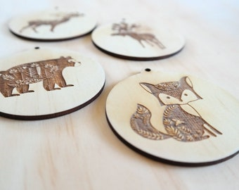 Wood Christmas bauble. Woodland Animals christmas baubles. Set of 4