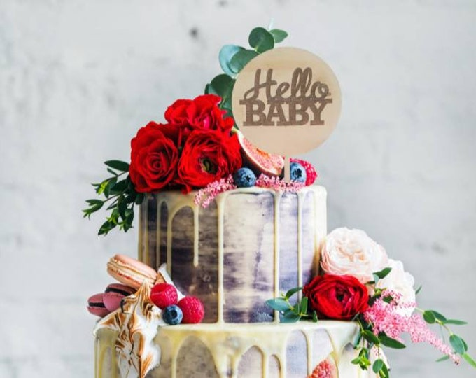 Hello Baby. Baby shower cake topper. Wood cake topper.