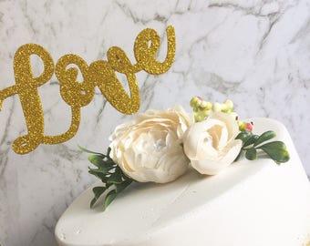 Glitter Cake topper - Wood Cake topper - Love  cake topper
