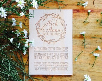 Wood wedding invitation - Timber wedding invitation - Vines Design - Pack of 10