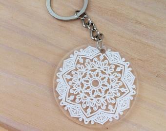 Keyring mandala design. Acrylic keyring.