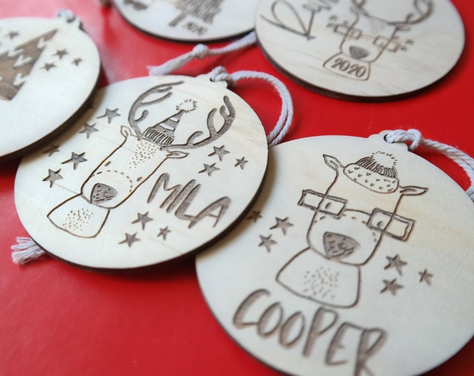 Christmas Baubles - Personalised - Ornaments - Reindeer Fun - Wood Bauble