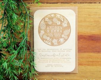 Wedding invitation - Timber wedding invitation - Tropical Beach Design - Pack of 10