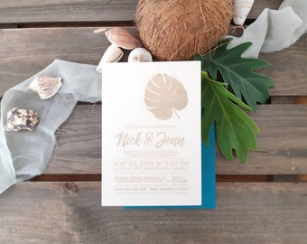Monstera leaf wedding stationery - Coastal leaf print Paper invitation - Pack of 10