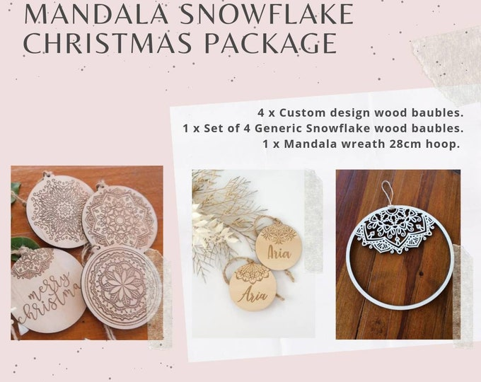 Snowflake Christmas decorations. Personalised Christmas baubles.