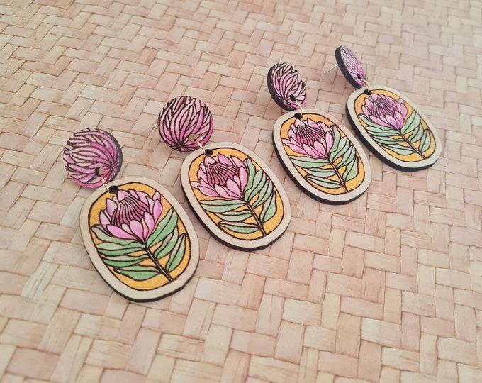 Wildflower Earrings - Australian flower earrings - Protea - Dangles