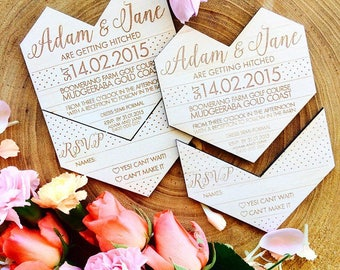 SAMPLE Wooden Wedding invitation. Geometric heart. Snap off RSVP. Sample only.