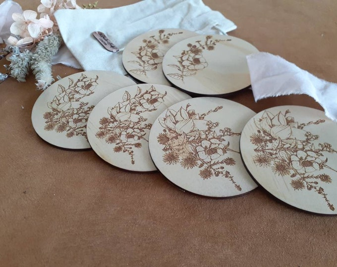 Wooden Coaster Set - Wildflowers - Mothers Day gift