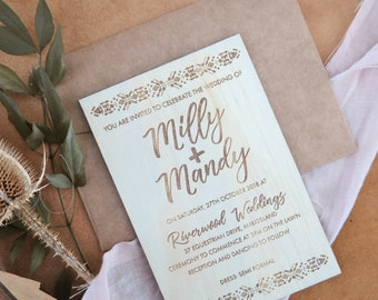 Bohemian Wedding stationery. Laser engraved wood invitation. Bohemian series. 10 pack