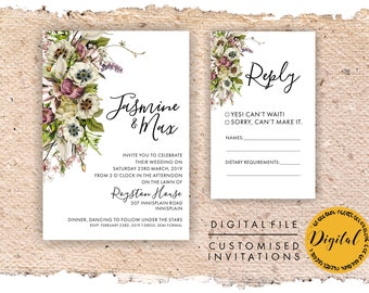 Flower wedding invitation - DIY printing - Digital file.