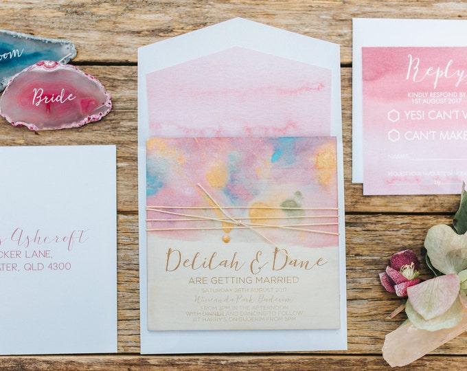 Bohemian wedding invitation. Hand painted, laser engraved rustic wedding invitation. 10 pack