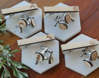 Fathers Day Wooden Cufflinks and Tie Clip Sets