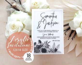 Elegant Wedding invitations, laser engraved acrylic stationery. 12cm x 18cm size