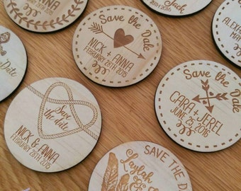 Save the date magnets. 10 pieces. Wooden magnets. Rustic. Wood etched.