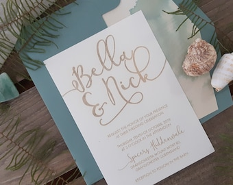 Coastal Wedding stationery suite - Modern Beach Wedding Invitation - Pack of 10