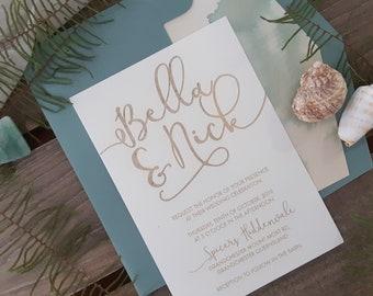 Coastal Wedding stationery suite - Modern Beach Wedding Invitation - Pack of 10