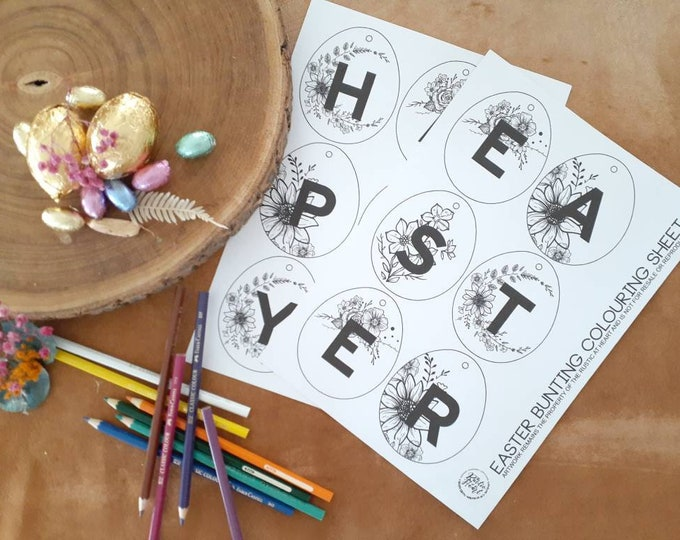 Easter Bunting Colouring In Activity Sheet.