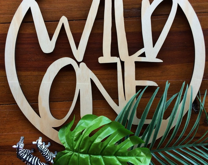 Wild One party sign. Hoop signage. Round sign. Wood sign. - Large