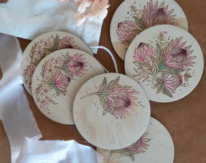 Wooden Coaster Set - Proteas - Mothers Day gift