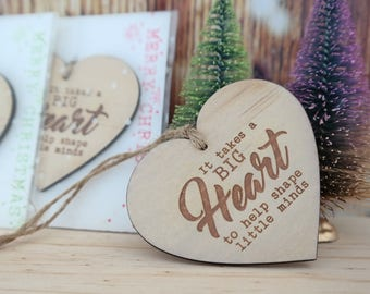 Teachers gift christmas bauble or keyring. Timber heart bauble