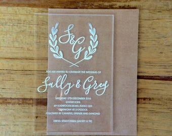 Acrylic invitations, laser engraved acrylic stationery. Set of 10