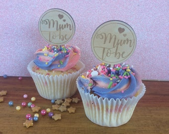 Cup cake toppers. Mum to be cake topper. Baby shower cake topper-  SET OF 6