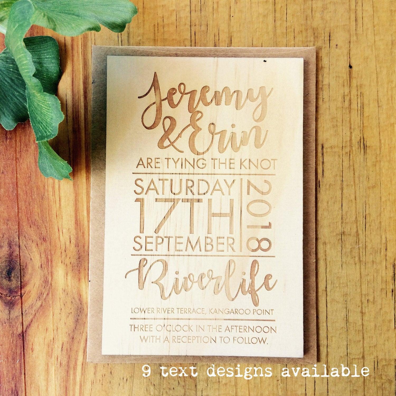 Wedding invitation - Timber wedding invitation - Text design - Pack ...