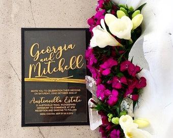 Acrylic wedding invitation, laser engraved acrylic stationery. Pack of 10.