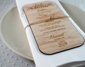 Rustic Wooden Menu, Laser cut wood menus. Rustic Florals