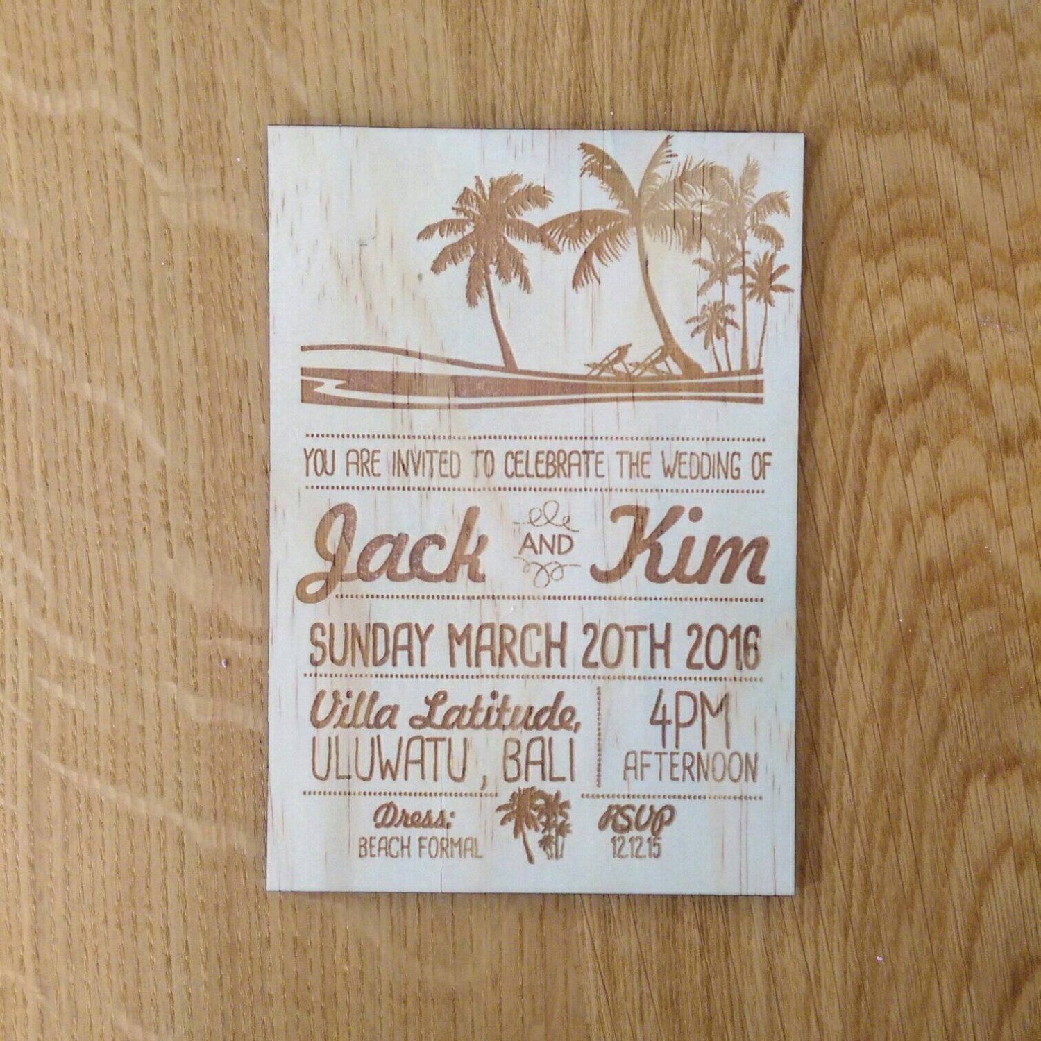 Size Wedding Invitation: Wedding Invitation, Tropical Wedding Invitation. Laser