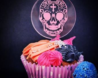 Halloween cupcake toppers, skull cake topper. Set of 6